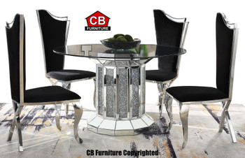 Baquet 2 Glam Mirrored 5-PC Dining Set