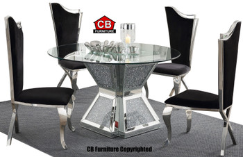 Baquet 3 Glam Mirrored 5-PC Dining Set