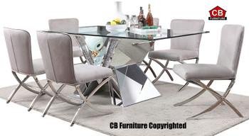 Baquet Rectangular Glam Mirrored 7-PC Dining Set