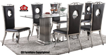 Baquet Rectangular Stainless Steel Glam Mirrored 7-PC Dining Set