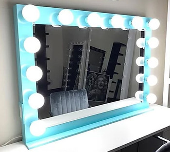 """KAELI Light Blue 42"""" Wide Vanity Mirror"""
