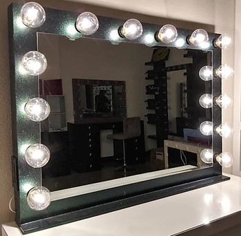 "GLITTER Iridescent Black 42"" Wide Vanity Mirror"