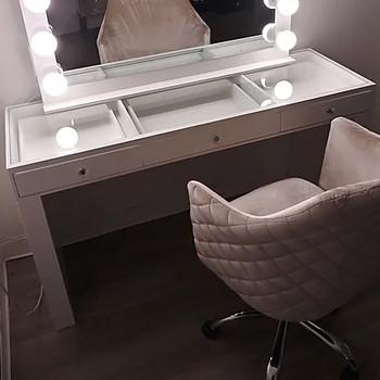 """CELENE White 54"""" Wide Mirror Writing Desk"""