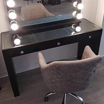 """CELENE Black 54"""" Wide Mirror Writing Desk"""
