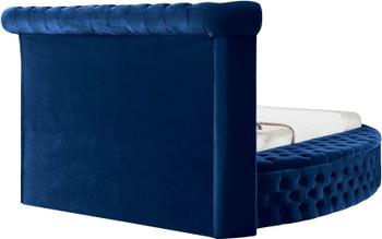 SAMMIE Blue Velvet Round Storage Bed