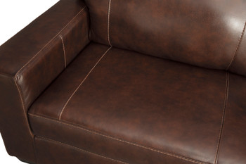 "RUIZ Brown 85"" Wide 100% Leather Sofa"