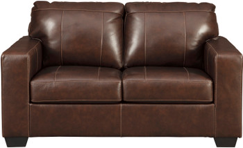 "RUIZ Brown 62"" Wide 100% Leather Loveseat"