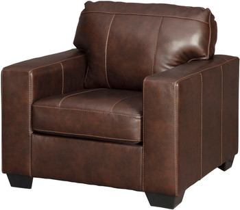 "RUIZ Brown 38"" Wide 100% Leather Chair"
