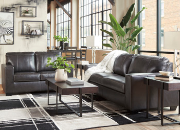 RUIZ Gray 100% Leather Sofa & Loveseat