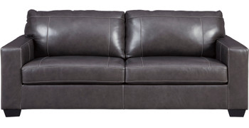 "RUIZ Gray 85"" Wide 100% Leather Sofa"