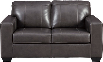 "RUIZ Gray 62"" Wide 100% Leather Loveseat"