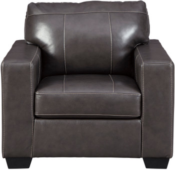 "RUIZ Gray 38"" Wide 100% Leather Chair"