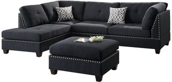 """ARCATA Black 104"""" Wide Reversible Sectional with Ottoman"""