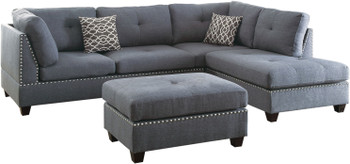 """ARCATA Blue Gray 104"""" Wide Reversible Sectional with Ottoman"""