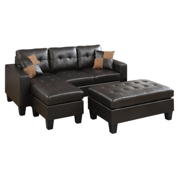 Bloomington Espresso Bonded Leather Sectional With Ottoman