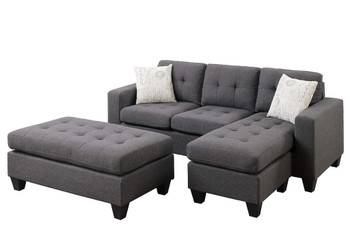 Bloomington Blue-Grey Linen-Like Sectional With Ottoman