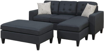 Bonnie Black Linen-Like Fabric Sectional With Ottoman