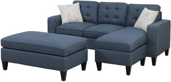 Bonnie Navy Linen-Like Fabric Sectional With Ottoman
