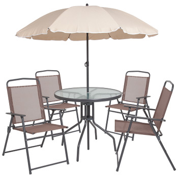 PAT- 6 PC Brown Patio Set
