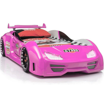 GT999 Pink Lighted Race Car Bed