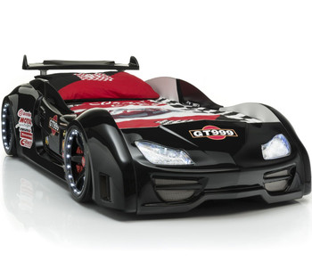 GT999 Black Lighted Race Car Bed