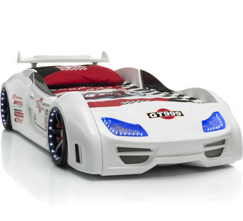 GT999 White Lighted Race Car Bed