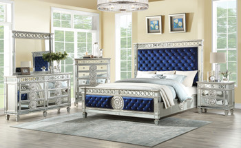 CLARATON Blue Fabric Bed With Mirrors Bedroom Set