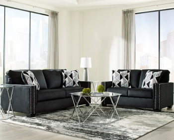 "GUSTOV Black 84"" Wide Sofa"
