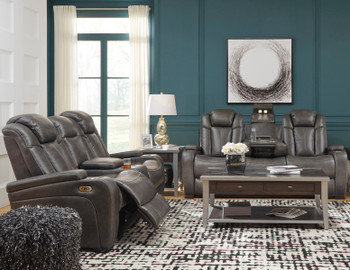 ERIKSON Gray Power Reclining Sofa &  Loveseat