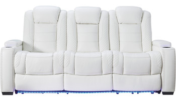 "VIKTOR White 86"" Wide Power Reclining Sofa"