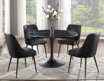 Ransu Black 5-PC Marble Dining Set