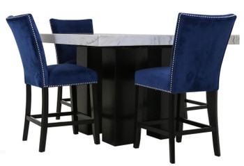 NUBIA Blue 5 Piece Counter Height Set
