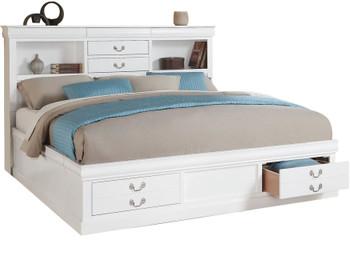 ELROID White Storage Platform Bed