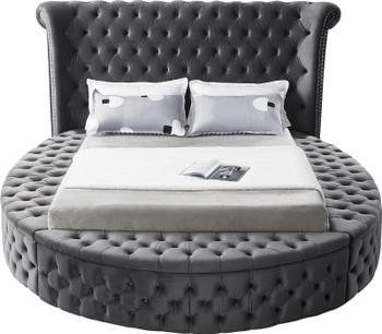 SAMMIE Grey Velvet Round Storage Bed