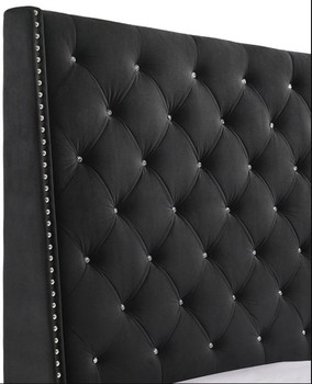 Joylette Black Fabric Tufted Bed