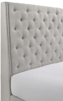 Joylette Khaki Fabric Tufted Bed