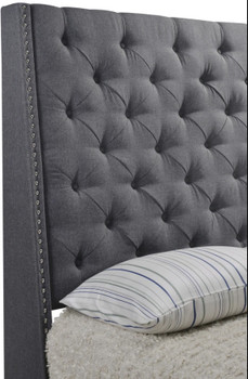 Joylette Grey Fabric Tufted Bed