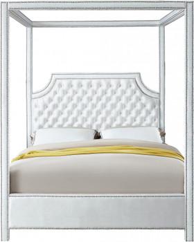Valencia White Velvet Canopy Bed