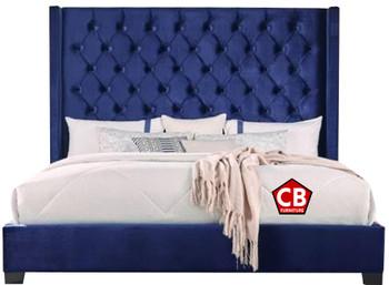 Neil Blue Tufted Velvet Bed