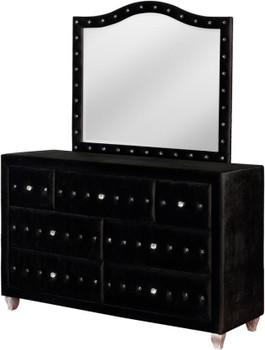 """QUINTON Black 61"""" Wide Dresser & Mirror with Jewelry Storage"""