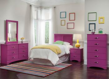 "LEONE Purple 48"" Wide Dresser & Mirror"