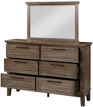NELA Gray Distressed Dresser & Mirror