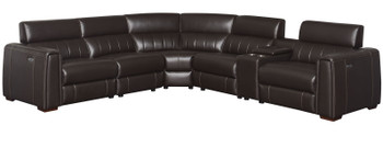 Donovan Top-Grain 6-PC Powered Reclining Sectional