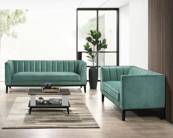 TOBIAS Green Sofa & Loveseat