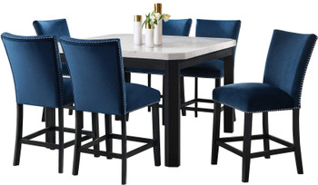 VALERY White & Blue 7 Piece Squared Counter Height Set