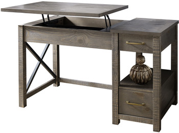 JOHNY Distressed Grey Lift-Top Desk