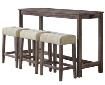 Riley 4 Piece Gray Dining Set with USB Connection