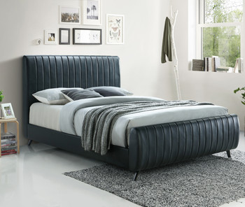 SETH Black Faux Leather Bed