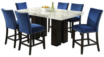 NUBIA Blue 7 Piece Counter Height Set