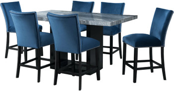 VALERY Gray & Blue 7 Piece Rectangular Counter Height Set